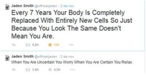 """1.""""Cada 7 años tu cuerpo es completamente reemplazado con nuevas células. Entonces simplemente porque luzcan igual no quiere decir que lo seas"""". 2.""""Cuando no estás seguro te preocupás, cuanto estás seguro te relajás"""""""