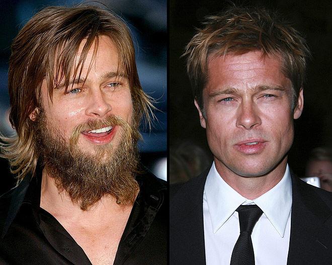 bradpitt con y sin barba