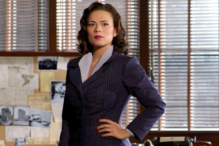 "TV STILL -- DO NOT PURGE -- gallery -- MARVEL'S AGENT CARTER - ""Marvel's Agent Carter,"" starring ""Captain America's"" Hayley Atwell, follows the story of Peggy Carter. It's 1946, and peace has dealt Peggy Carter a serious blow as she finds herself marginalized when the men return home from fighting abroad. Working for the covert SSR (Strategic Scientific Reserve),  Peggy must balance doing administrative work and going on secret missions for Howard Stark all while trying to navigate life as a single woman in America, in the wake of losing the love of her life - Steve Rogers. Inspired by the feature films ""Captain America: The First Avenger"" and ""Captain America: The Winter Soldier,"" along with the short ""Marvel One-Shot: Agent Carter.""  (Marvel/Bob D'Amico)"