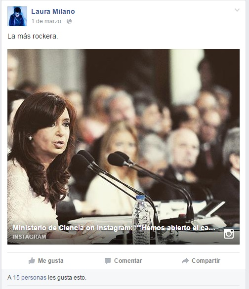 Milano es admiradora de CFK, que se opone al aborto.