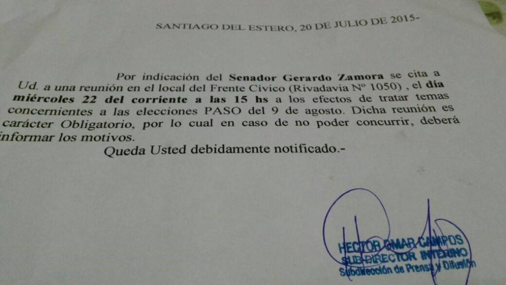 Orden oficial para asistir a una reunión en un local partidario.