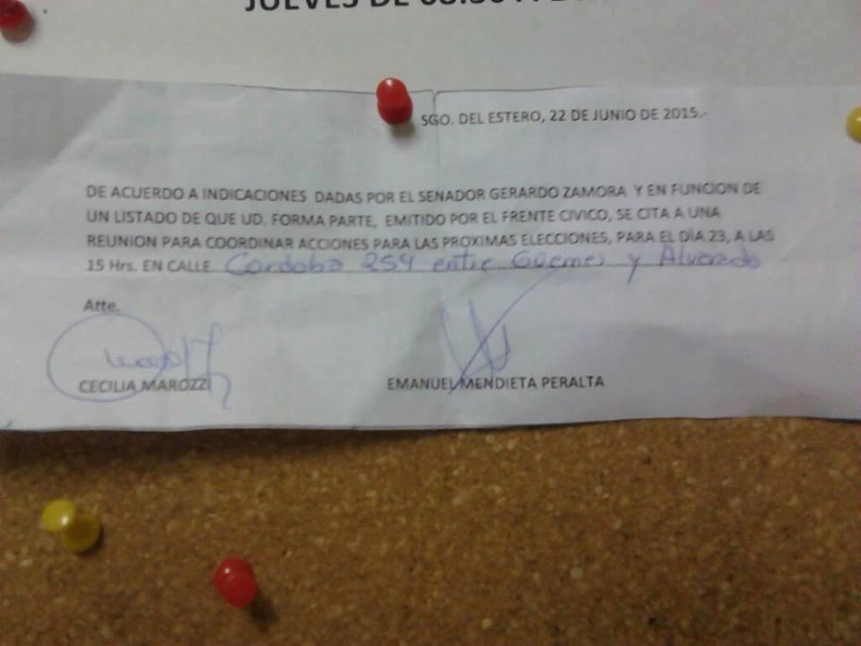 Nota en repartición pública. (Gentileza: Agencia de Medios Independientes de Santiago del Estero)