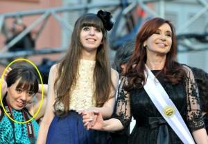 Romina Mercado, con la familia Kirchner. Contratada por Lakaut.