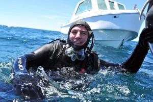 Boudou ama bucear en Puerto Madryn.