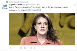 El miedo, según la embajadora Alicia Castro, replicada por la agencia Télam.