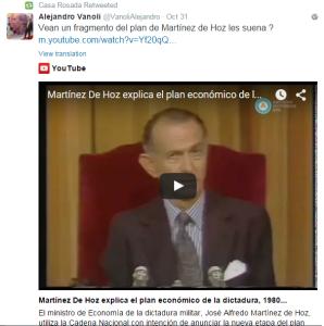 Vanoli, el primer funcionario en comparar a Macri con Martínez de Hoz.