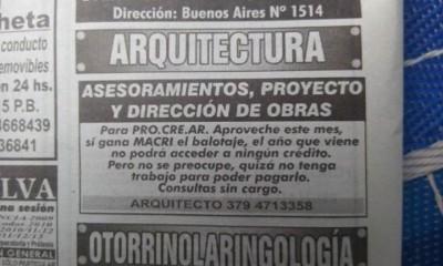 Aviso publicado en el diario Época, de Corrientes.