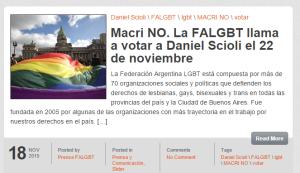 La FALGBT apoyó a Scioli. Y fue muy criticada por eso.