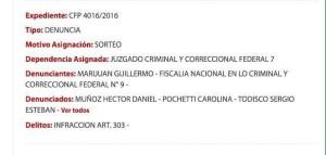 La denuncia de Marijuán recaía en Casanello. La derivó.