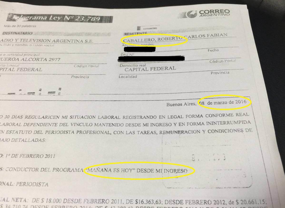 Carta documento de Caballero a RTA. Crédito: #BorderPeriodismo