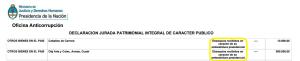 """La """"embestidura"""" de Menem, en su declaración jurada de 2014."""