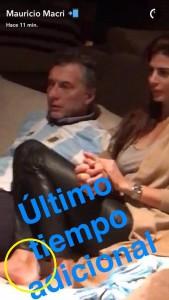 Captura del Snapchat presidencial y los tobillos de la primera dama.