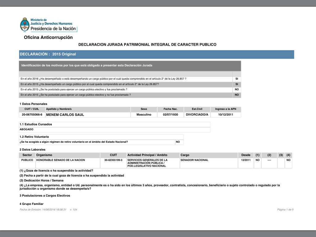 Declaración Jurada de Menem 2015.