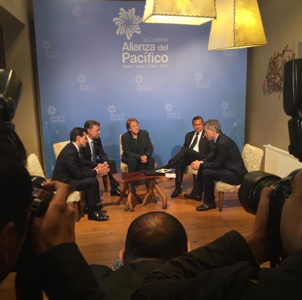 Los presidentes de la Alianza del Pacífico: Peña Nieto (México), Santos (Colombia), Bachellet (Chile) y Ollanta Humala (Perú).