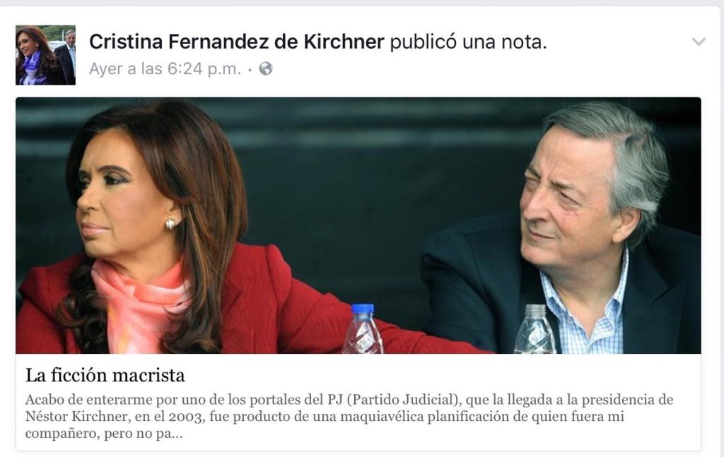 Nota publicada por CFK en Facebook.