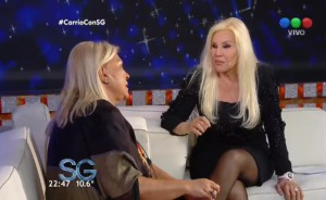 El último domingo, Carrió debutó en el living de Susana.
