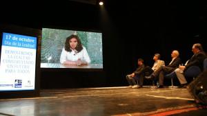 Cristina participó de un acto del Día de la Lealtad por videoconferencia.