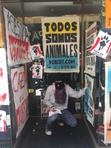 Ecoactivista en acción. Pidieron no hacer vandalismo. (Foto: Denise Murz)