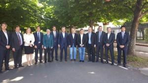 Macri, el martes en Olivos, con los gobernadores que apoyan la reforma.