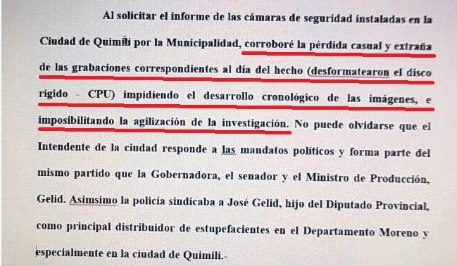 Extracto de la denuncia del ex juez Moreno, que involucra al poder político.