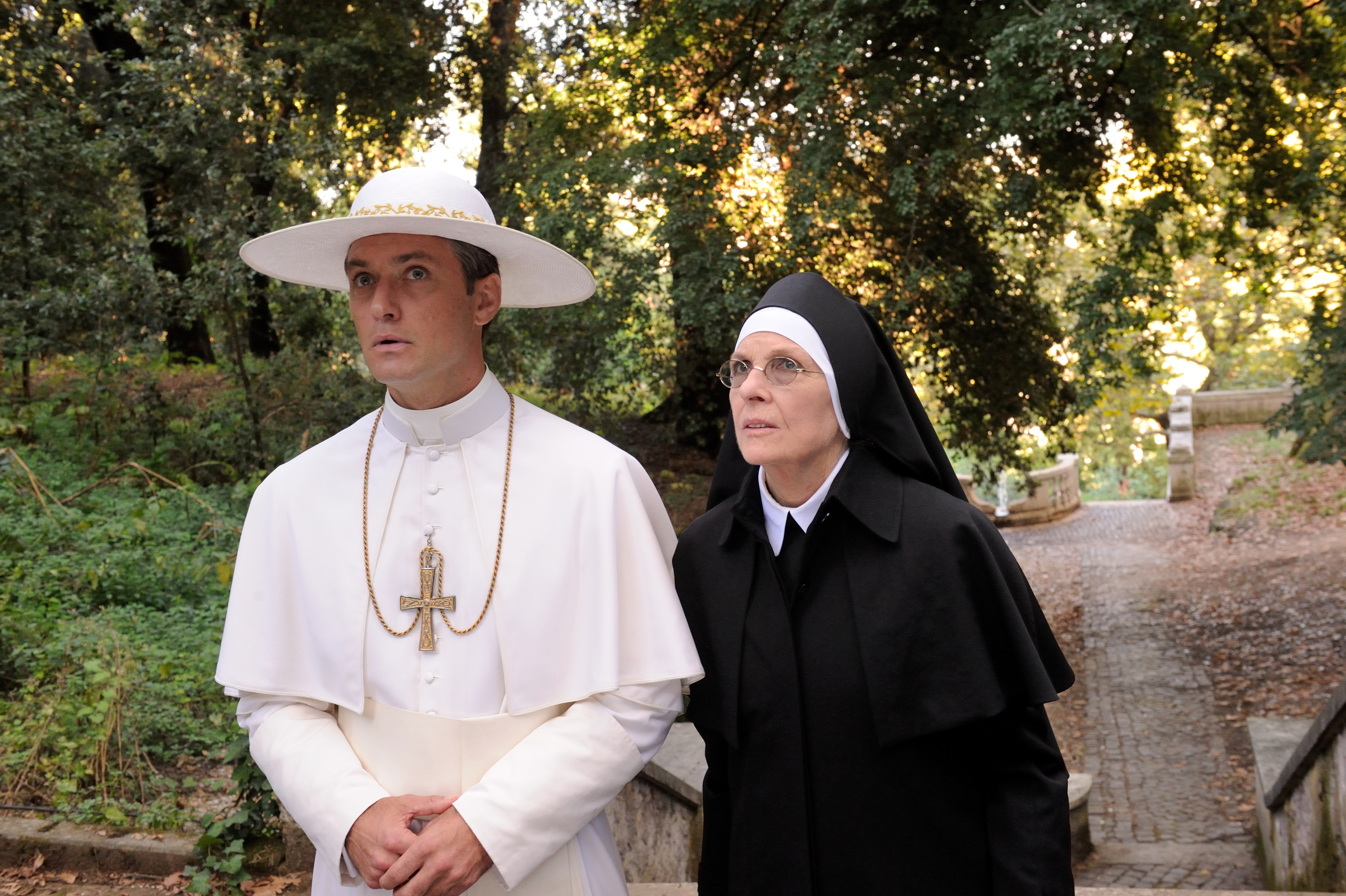 "set of ""The young Pope"" by Paolo Sorrentino. 08/19/2015 sc.126 - ep 1 in the picture Jude Law and Diane Keaton. Photo by Gianni Fiorito"