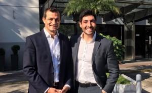 Facundo Moyano y una sugerente foto con Bucca, intendente randazzista.