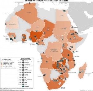 Inversiones chinas en África (fuente: Business Insider).