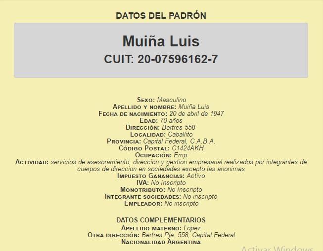 Los datos del padrón de Luis Muiña, jubilado.