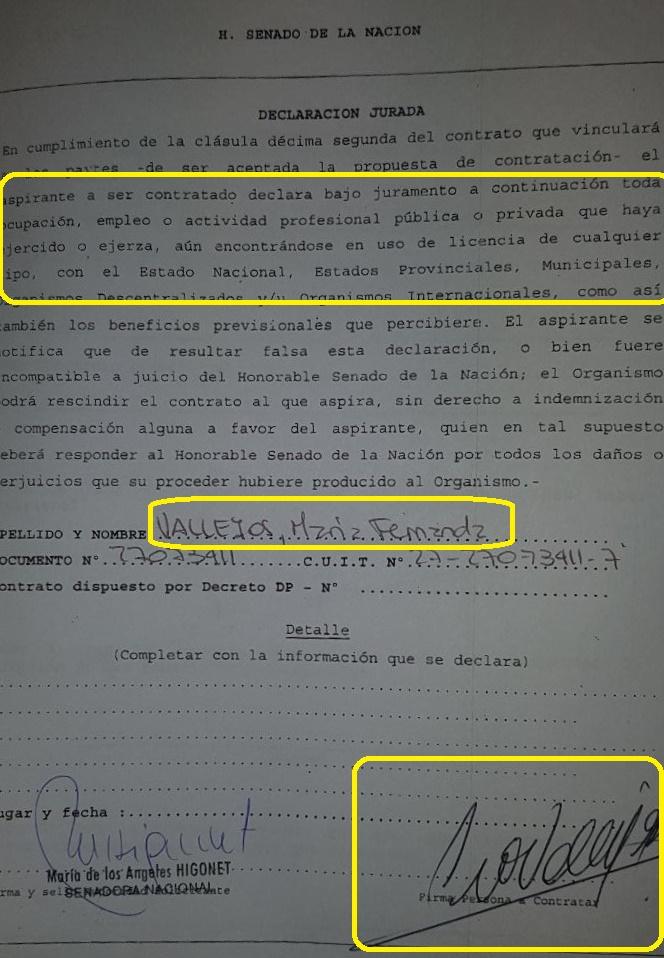La declaración jurada de Vallejos ante el Senado. Omite sus trabajos.