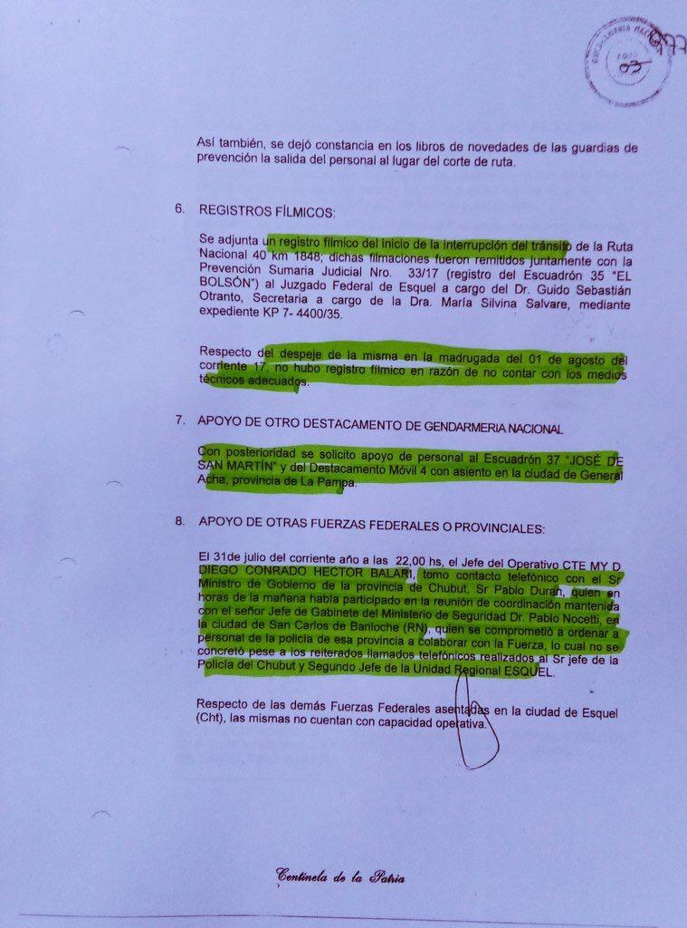 Informe de Gendarmería en la causa.