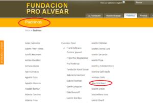 """La lista de """"padrinos"""" de la Fundación."""