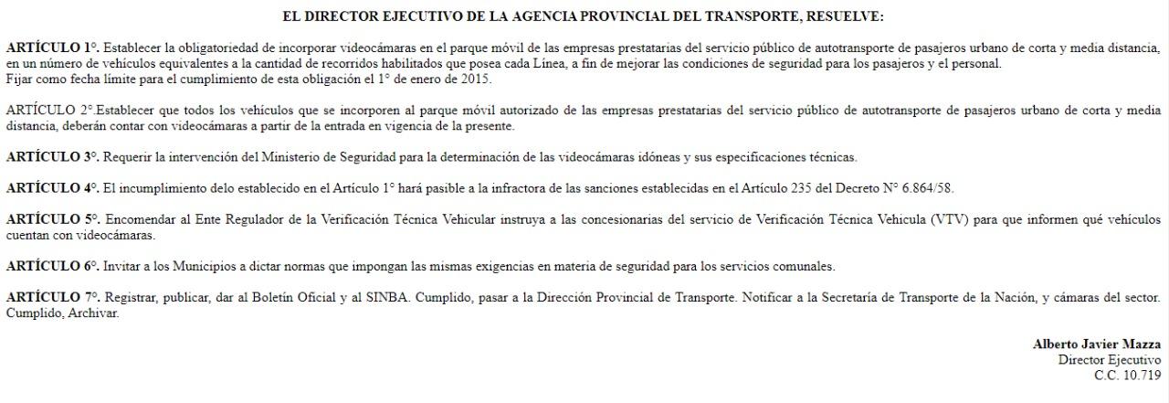 La norma vigente, aprobada por la gestión Scioli, en 2014. Nada.