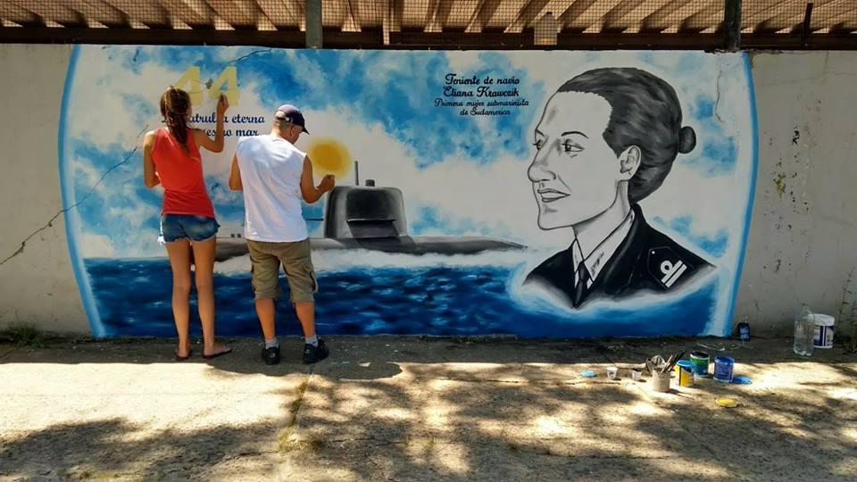 El mural dedicado a la submarinista del ARA San juan.