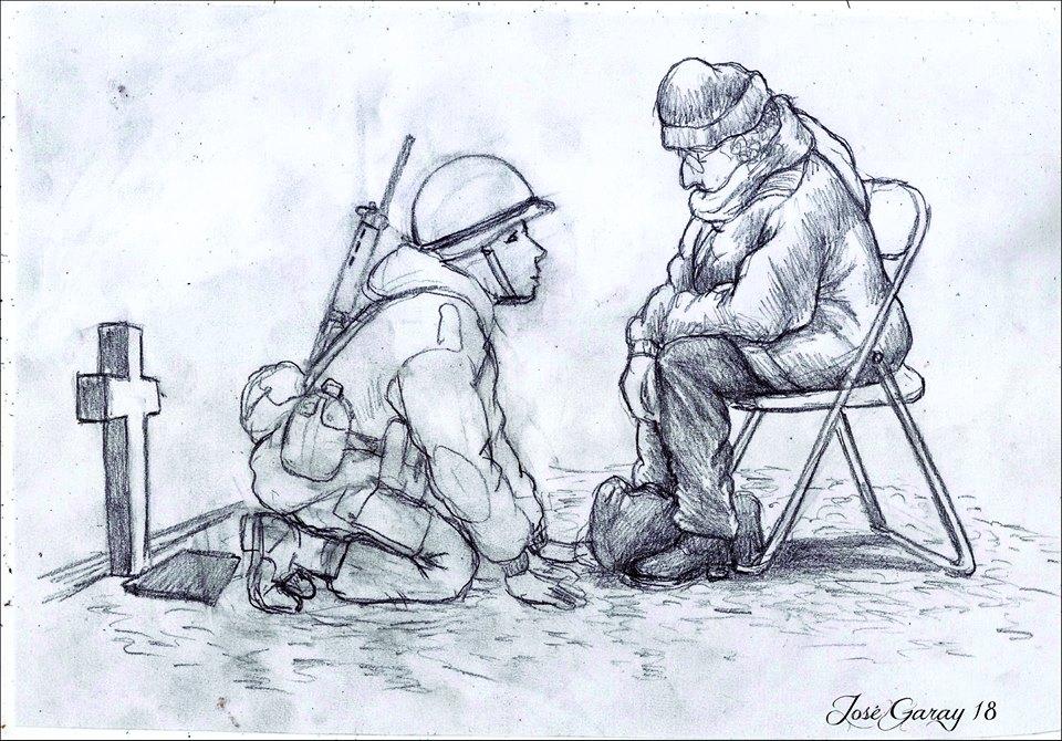 """""""Él estaba ahí"""", el dibujo de Garay."""