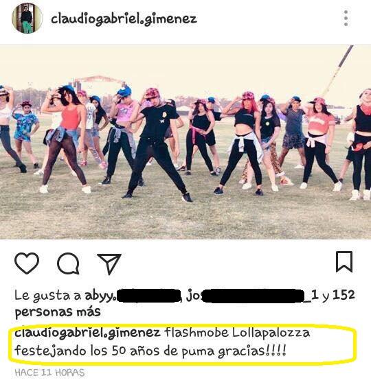En instagram, en un evento en el Lolapalooza