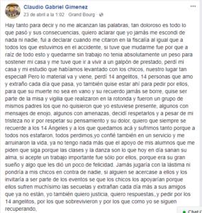 Un posteo de Giménez en Facebook produjo la reacción de la madre de una víctima.