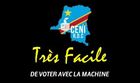 """Propaganda oficial congoleña: """"Es muy fácil votar con la máquina""""."""