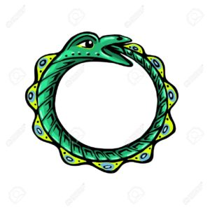 Uroboros. The green snake eats its own tail. Eternity or infinity Magic symbol. Mythology and snakes, stylized vector illustration.