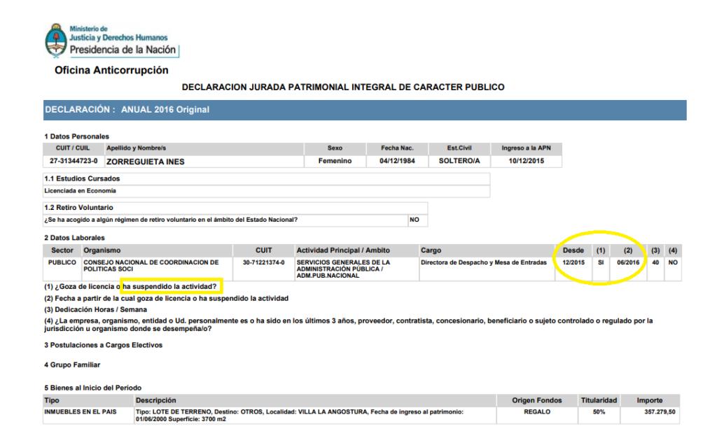 La DDJJ de Zorreguieta y el anuncio de su salida del primer cargo.